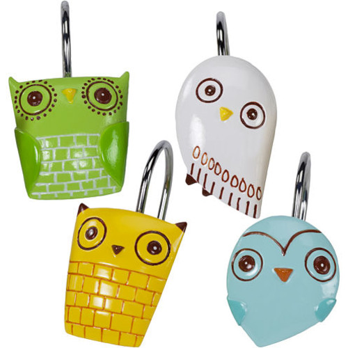 Creative Bath Give A Hoot Shower Curtain and Hooks