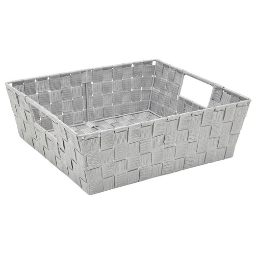 Simplify 13 in. x 15 in. x 5 in. Large Woven Storage Bin in Grey