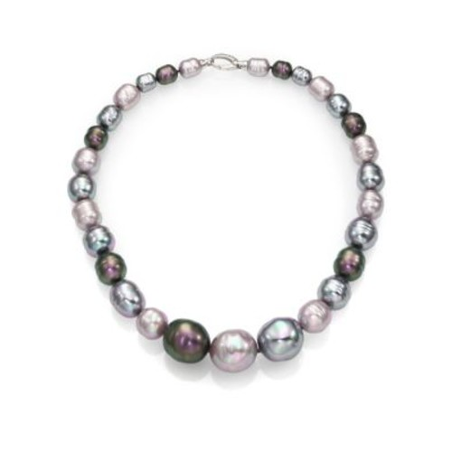 10MM-20MM Multicolor Baroque Pearl & Sterling Silver Graduated Strand Necklace/18