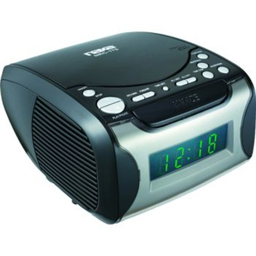 Naxa 97076734M Digital Alarm Clock with Digital Tuning AM/FM Radio & CD Player