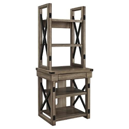 Wildwood Wood Veneer Audio Stand/Bookshelf - Rustic Gray - Ameriwood Home