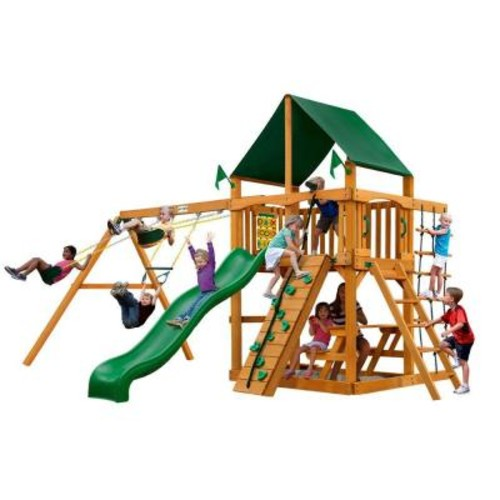 Gorilla Playsets Chateau with Amber Posts and Sunbrella Canvas Forest Green Canopy Cedar Playset