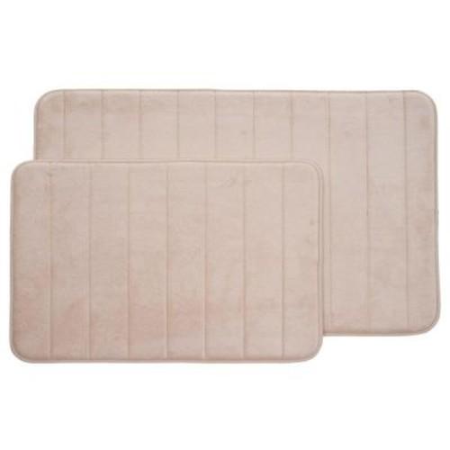 Lavish Home Ivory 20.25 in. x 32.25 in. Memory Foam 2-Piece Bath Mat Set