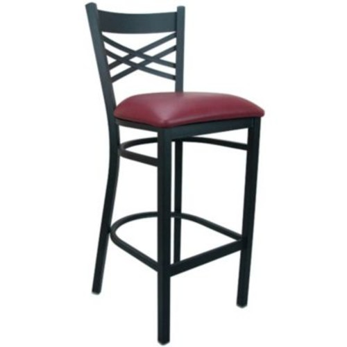Advantage Cross Back Metal Bar Stool - Burgundy Padded (BSXB-BFRV-2)