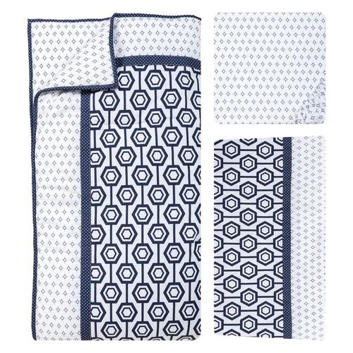 Trend Lab Blue and White Hexagon 3-piece Crib Bedding Set