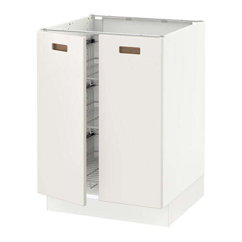 SEKTION Base cabinet w/wire basket+2 doors, brown, Laxarby black-brown