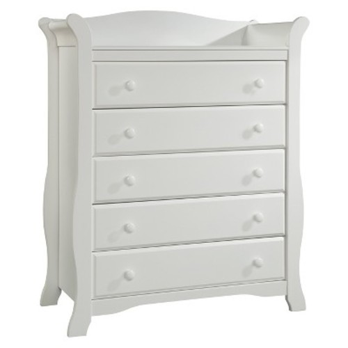 Stork Craft Avalon 5 Drawer Dresser - White