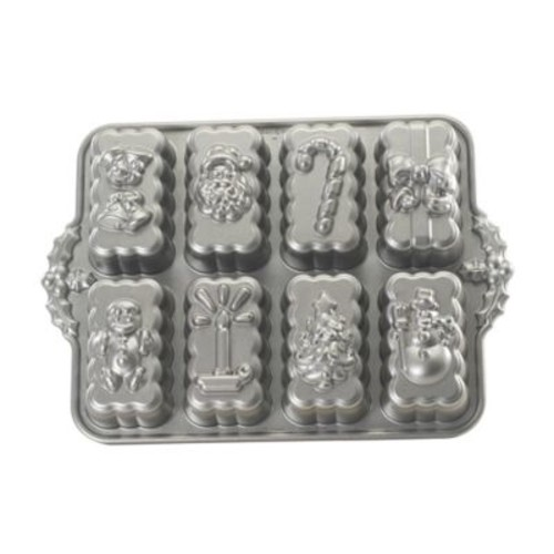 Nordic Ware Platinum Nonstick Holiday Mini Loaves Pan in Silver