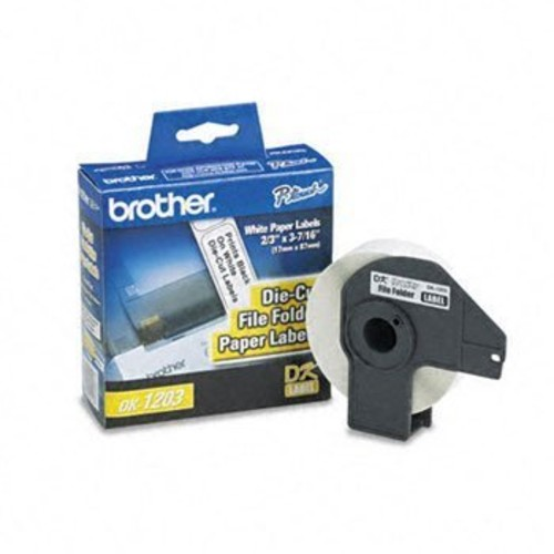 Brother Pre-Sized Die-Cut Label Roll for QL Label Printers LABEL,3-7/16X2/3,300RL,WE (Pack of8)