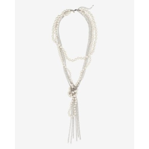 knotted pearl and chain necklace