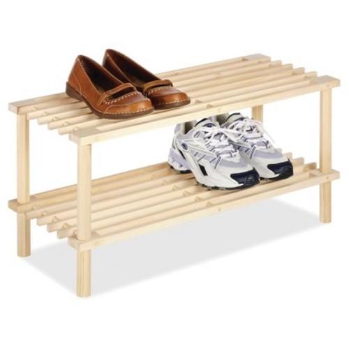 Whitmor 2-Tier Shoe Rack - Natural Wood