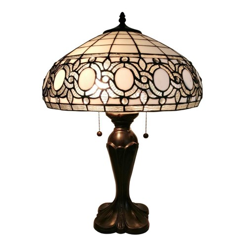 Amora Lighting 24 in. Tiffany Style White Table Lamp