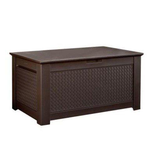 Rubbermaid 93 Gal. Chic Basket Weave Patio Storage Bench Deck Box in Brown