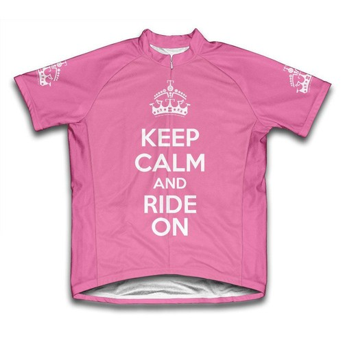 Scudo Ladies Extra Small Pink Keep Calm and Ride on Microfiber Short-Sleeved Jersey