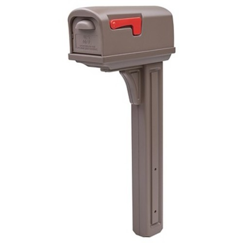 Gibraltar Classic Plastic Mailbox and Post Combo with Double Door