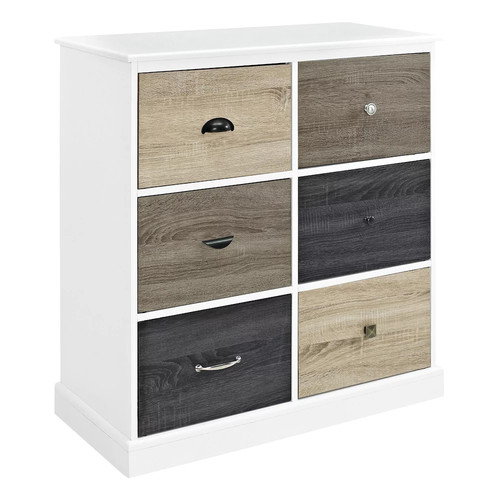 Altra Furniture Mercer 6-Door Storage Cabinet with Multicolored Door Fronts - White Finish