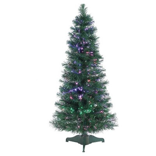 4ft Pre-Lit Artificial Christmas Tree Slim Pine Fiber Optic - Clear Lights