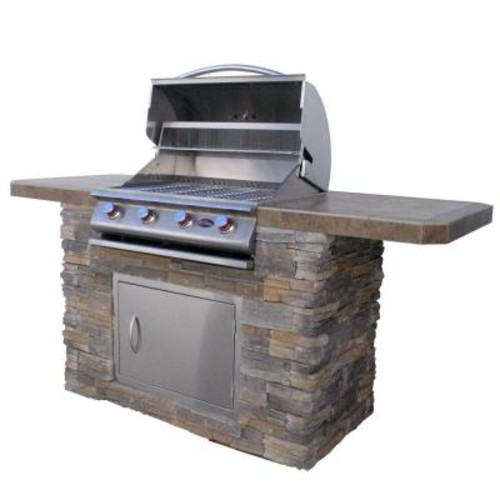 Cal Flame 7 ft. Cultured Stone BBQ Island with 4-Burner Grill in Stainless Steel