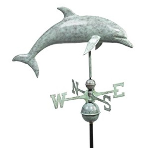 Good Directions Dolphin Weathervane, Blue Verde Copper, Fish, Patina