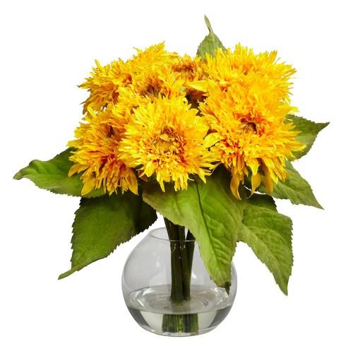 Nearly Natural Golden Sunflower Arrangement