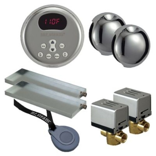 Mr. Steam Butler Round Steam Thermostat, Timer, and Steamhead; Polished Chrome