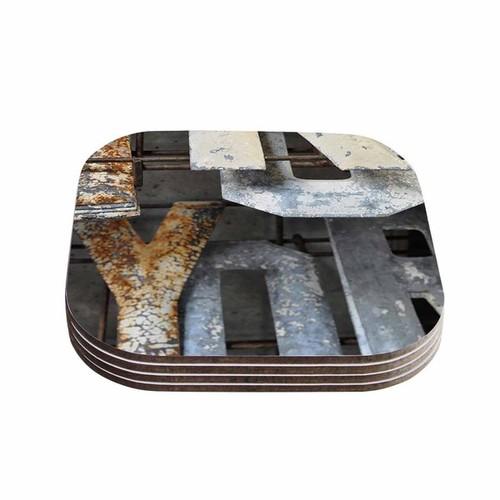Kess InHouse Jennifer Rizzo 'Patina Letters' Gray Brown Coasters (Set of 4)
