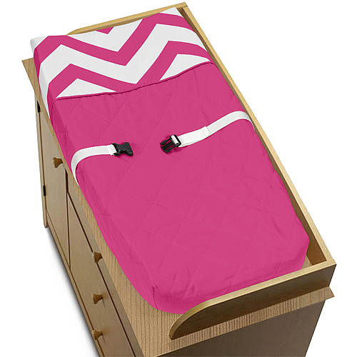 Sweet Jojo Designs Pink and White Chevron Collection Changing Pad Cover