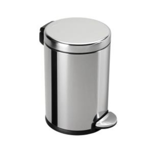simplehuman 4.5-Liter Fingerprint-Proof Polished Stainless Steel Round Step-On Trash Can