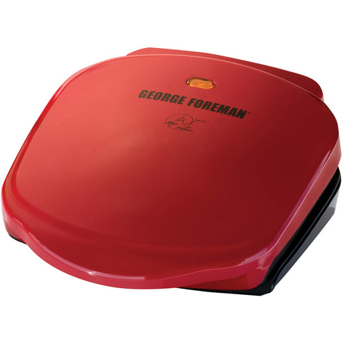 George Foreman 2-Serving Classic Plate Electric Indoor Grill and Panini Press, Red, GR10RM [Red]