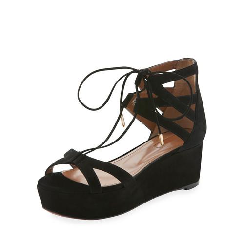 AQUAZZURA Beverly Hills Suede Platform Sandal