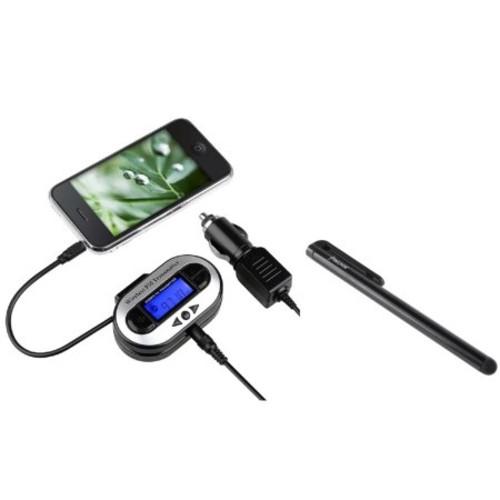Insten NEW CAR Radio FM Transmitter 3.5mm Port Universal For MP3 MP4 Player Apple iPad Mini Air iPod Nano Touch + Free Stylus