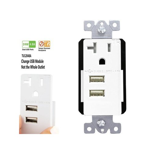 TOPGREENER TU12048A 4.8A Electrical Outlet USB Charger with 20A Wall Receptacle