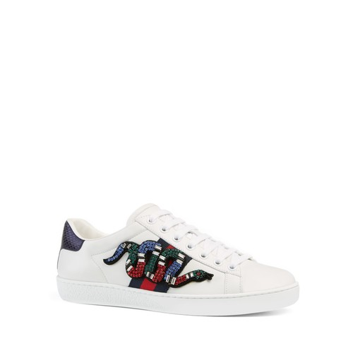 GUCCI Ace Embellished Lace Up Low Top Sneakers