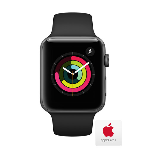 Apple Watch Series 3 with Space Gray Aluminum Case, 42mm - Black Sport Band with AppleCare+