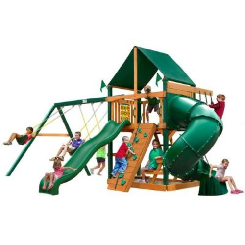 Gorilla Playsets Mountaineer with Timber Shield and Sunbrella Canvas Forest Green Canopy Cedar Playset