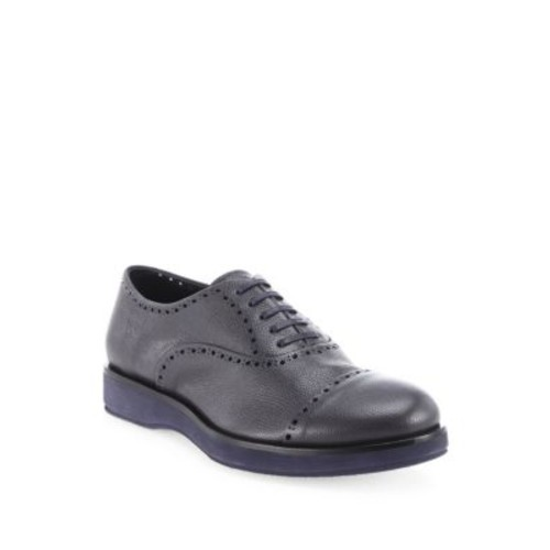 Brogue Pebbeled Leather Oxfords