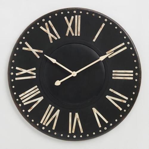 Distressed Black Iron Wall Clock