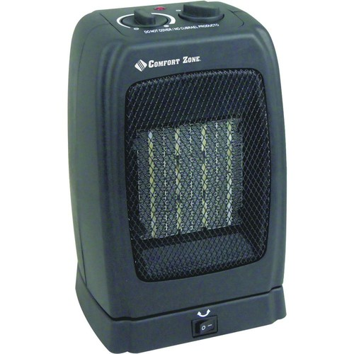 Comfort Zone 1,500-Watt Ceramic Electric Portable Heater with Oscillation - Black-DISCONTINUED