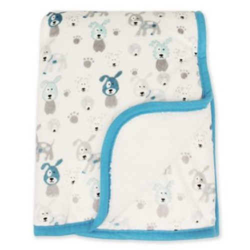 Colorful Nights Sweet Puppies Baby Blanket in Blue