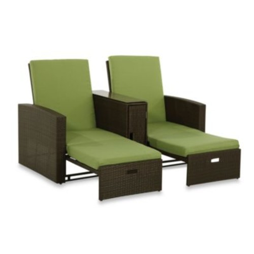 Wicker Double Chaise Lounge in Lime