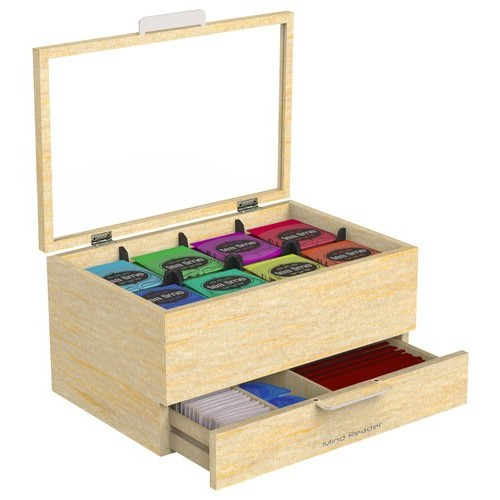 Mind Reader - Royce Wooden Tea Bag Box - Light Wood