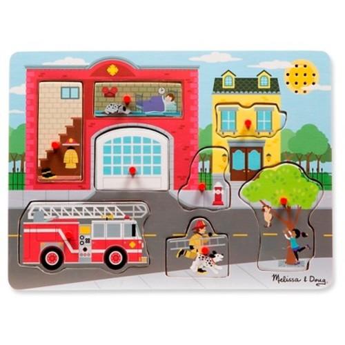 Melissa & Doug Around the Fire Station Sound Puzzle - Wooden Peg Puzzle (8pc)
