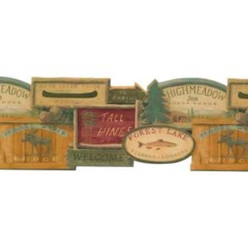 York Wallcoverings Lake Forest Lodge Rustic Lodge Signs Wallpaper Border