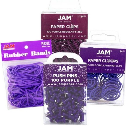 JAM Paper Office Supply Assortment Pack, Purple, (1) Rubber Bands (1) Push Pins (1) Paper Clips (1) Round Paper Cloops, 4/pack