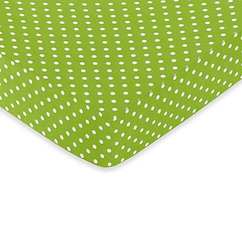 Sweet Jojo Designs Lime and Black Spirodot Fitted Polka Dot Print Crib Sheet in White/Lime