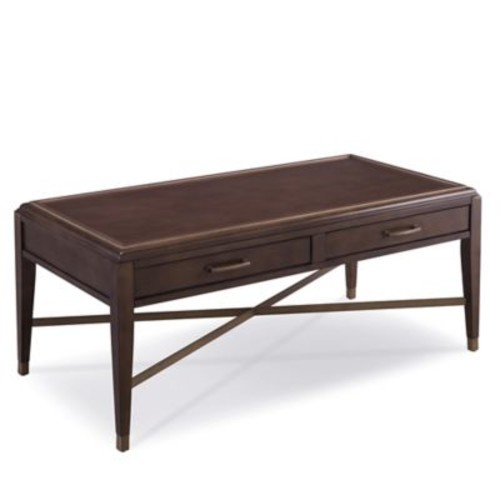 Leick Furniture Simone 2-Drawer Coffee Table with Pitch Driftwood/Brushed Bronze Finishes