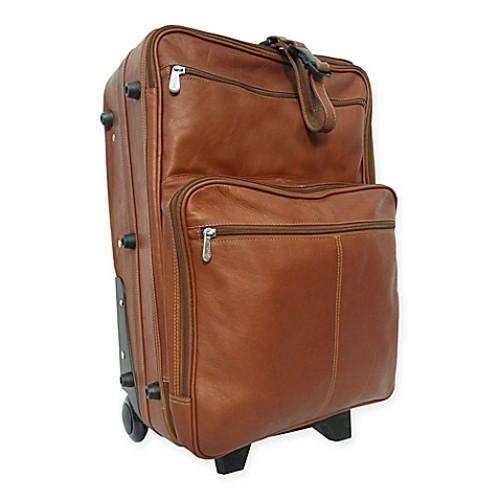 Piel Leather Classic Wheeled Traveler Luggage in Saddle