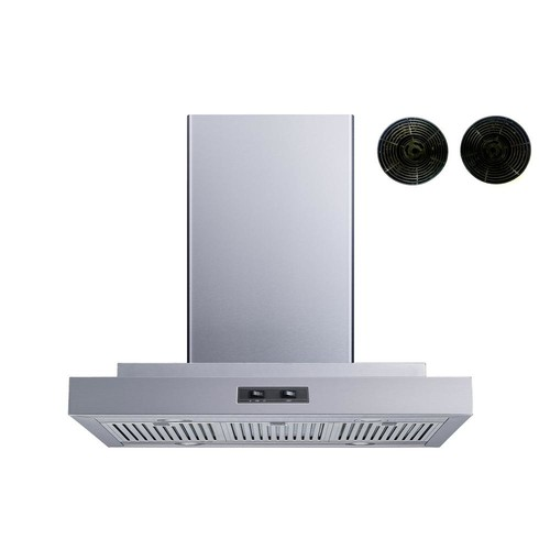 Winflo 30 in. Convertible Island Mount Range Hood in Stainless Steel with Stainless Steel Baffle Filters and Carbon Filters