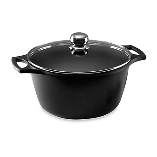 Fundix by Castey 3.25 Quart Cast Aluminum Saucepot in Black With Lid