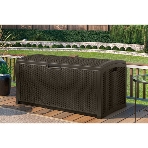 Suncast 122 Gallon Java Resin Wicker Deck Box DBW9935